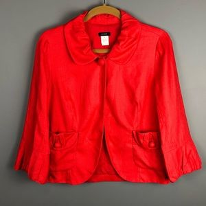 J. Crew Red Linen Ruched Collar Short Swing Coat 6